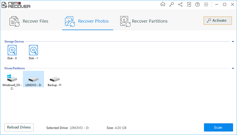 Sony Card Recovery - Main Screen