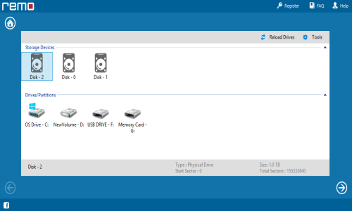 Sony Card Recovery - Choose Physical Drive